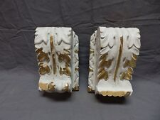 Pair Antique French Carved Wood Corbels Shelf Brackets Shabby Vtg Chic 629-18P
