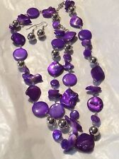 OPAQUE ABALONE PURPLE STONE NUGGET & SILVER BEAD NECKLACE WITH MATCHING EARRINGS