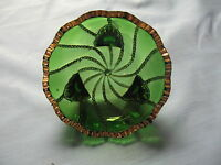 EAPG DUNCAN GREEN BEADED SWIRL BERRY BOWL WITH GILT EDGING - SMALL
