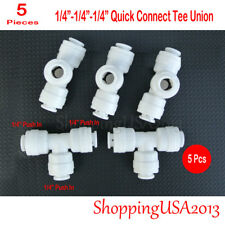 """5 Pcs 1/4""""-1/4""""-1/4"""" Tee Union Fitting Connector Push In Quick Connect RO"""