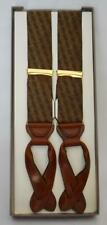 NRFB TRAFALGAR OLD GOLD SILK & LEATHER ADJUSTABLE SUSPENDERS BRACES ORIGINAL BOX