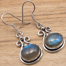 "Vintage Fashion Earrings 1 5/8"" 925 Silver Plated Blue Fire Labradorite"