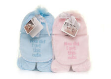 Personalised Embroidered Baby Hat Bib mits & booties set blue
