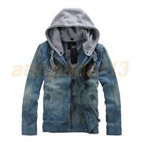 New Men's Slim Fit Hooded Casual Coat Jean Denim Jacket Outerwear Fashion