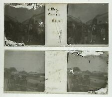 CHINE CHINA Indochine 2 Photos Plaques de verre Abimées stéréo positive 1917