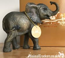 More details for elephant calf ornament figurine quality leonardo range elephant lover gift boxed