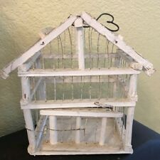 VINTAGE WHITE WOOD AND WIRE SMALL BIRD CAGE