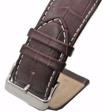 26mm Italian Genuine Leather Italy Brown White Stitch Croc Watch Band Strap