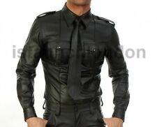 Mens Genuine Real Black Sheep Leather Police Uniform Shirt BLUF Gay Full Sleeves