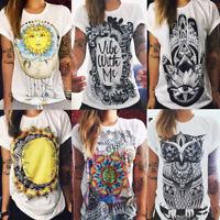 Women Short Sleeve T Shirt Casual Boho Hippie Tee Summer Blouse Cotton Top Loose
