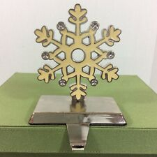 ENAMELED IVORY WHITE SNOWFLAKE SILVER TRIM CHRISTMAS STOCKING HANGER HOLDER