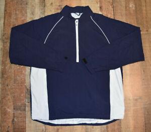 Footjoy Performance Men XL Blue White 1/2 Zip Nylon Jacket Windproof Lined EUC
