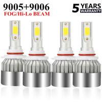 4X 9005 9006 Combo LED Headlight Kit 476000LM Hi-Low Beam HB3 HB4 6000K Blubs
