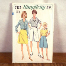vtg 60s women's Simplicity Pattern Blouse Shorts Mod Secretary space age 14 / 34