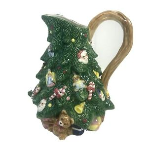 "Vintage OCI Omnibus Ceramic Christmas Tree Pitcher 1992 9""tall 72 oz 2.25 Quart"