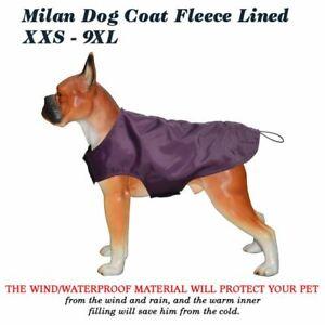 Dog Coat Purple XXS-9XL Rain Milan Fleece Lined Waterproof Jacket Outdoor Rain