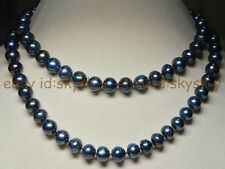 Long 32 Inches Natural 8-9mm tahitian black real pearl necklaces