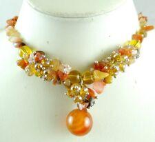 Natural agate &Crystal beads Ladies Handmade Gemstone pendant Jewellery Necklace