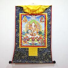 "Tibet Buddhism Thangka Longevity Fortune Godess Five Sisters Printed Brocade 24"""