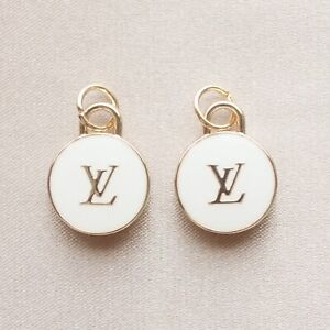 Set of 2 Louis Vuitton LV Zipper Pulls, 15mm, White, Gold, Double Sided, Round