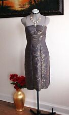 Adrianna Papell Gold Shimmer Sheath Cocktail Party Dress Sz 4