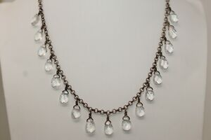 """SILPADA Zen Sterling Silver 925 Faceted Clear Crystal Drop 18"""" Necklace N1661 A#"""