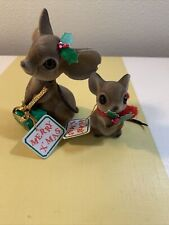New Listing2 Vintage Josef Originals Japan Fuzzy Mouse Mice Flocked Gift Merry X'Mas tag
