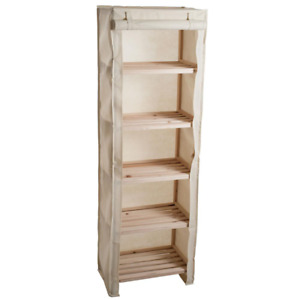 5-Tier Wooden Shelving Unit With Removable Cover