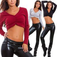 Top donna corto arricciato scollato maglia maglietta maniche lunghe sexy GI-7311