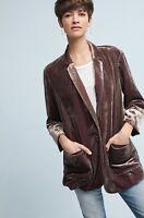 NEW Anthropologie brown purple Iridescent Crushed Velvet Blazer Jacket S