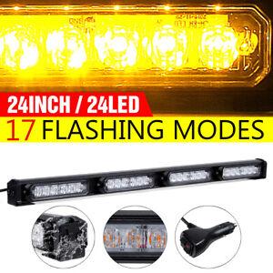 """24"""" 24W LED Roof Emergency Warning Strobe Light Bar Traffic Advisor Lamp Amber"""