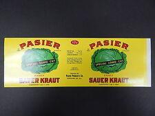 Vintage Label, c. 1941 Pasier Brand Sauerkraut, Chicago, IL, 30+ Labels