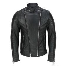 Men's Black Leather Jacket Biker Motorcycle Real Lambskin Coat Slim Fit Outwear