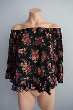 63e11921bcf213 Denim   Supply Ralph Lauren Off The Shoulder Tiered Floral Black Boho Top  sz XS