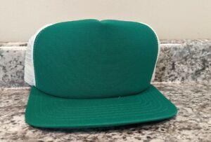 Vtg 2 color white & green 80s New Era Snapback Mesh Trucker Hat NOS  deadstock