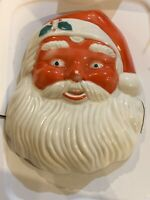 Vintage Hard Plastic Light Up Santa Claus Face Not a  Blow Mold Christmas 1940's