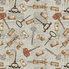 Wine Night1354 Tossed Wine Accessories Henry Glass 100%Cotton Fabric by the Yard