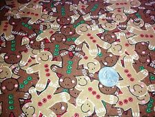 GINGERBREAD MEN GLITTER CHRISTMAS COTTON FABRIC QUILTING SEWING SOLD BTHY