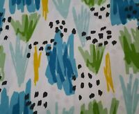 Abstract Flowers BTY Richloom Teal Aqua Blue Green Yellow Black on White
