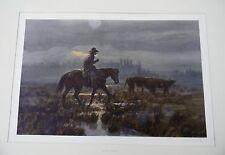 Large western lithograph print artist sign Foggy Morning by Joe Beeler