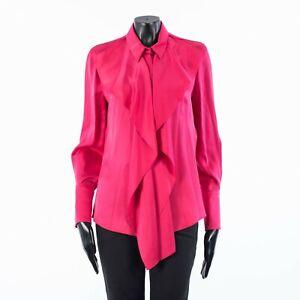ALEXANDER MCQUEEN 1490$ Ruffled Shirt Blouse In Pink Silk