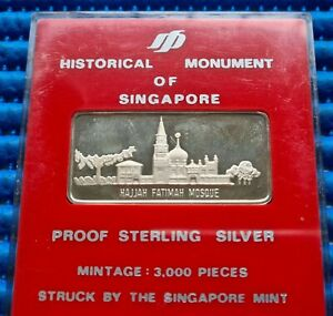 Historical Monument of Singapore Hajiah Fatimah Mosque in Proof Sterling Silver