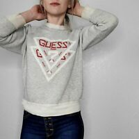 Guess Women's Small Vintage Gray Distressed Pullover Sweatshirt