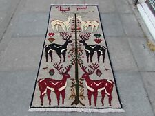 Old Traditional Hand Made Persian Oriental Gabbeh Wool Grey Rug 183x93cm Animal