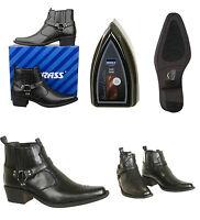 Mens Black Western Ankle Boots & Shoe Shine Sponge Size UK 6 7 8 9 10 11 12