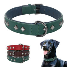 Soft Real Leather Pet Dog Studded Collar Heavy Duty Rivets for Medium Large Dogs