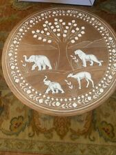 Tusks Carved Elephant and Other Animal Carved On Indian Handmade Table.