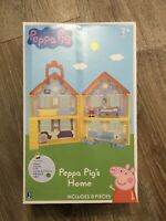 Peppa Pig ~ Home House 8-Pieces Playset Carry Case Fold Up Character Toy NEW