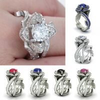 Women Charm Lotus Flower Crystal Ring Set Luxury Engagement Wedding Jewelry Ring