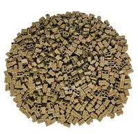 250 Beige Lego Steine 1x2 - Brick Mauersteine Beige Sandfarbe Dark Tan - 98283